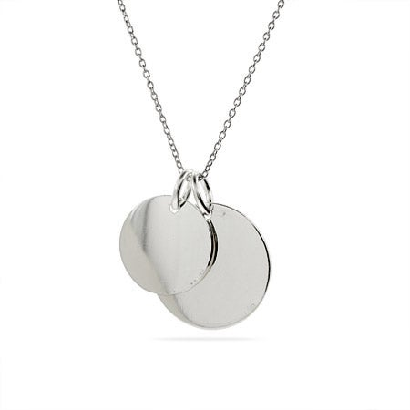 Engravable Sterling Silver Double Round Tag Pendant | Eve's Addiction