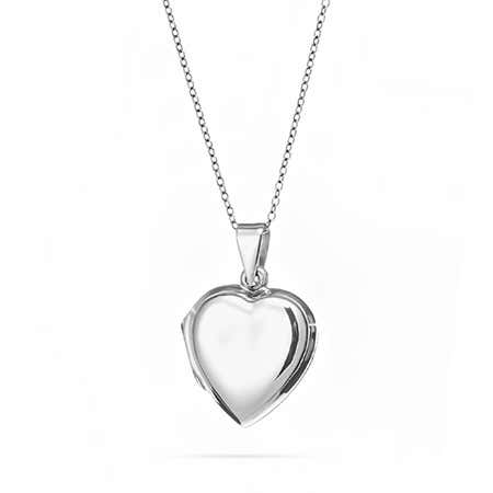 Engravable Silver Puffed Heart Locket