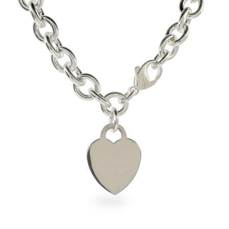 Engravable Heavy Heart Charm ID Necklace | Eve's Addiction