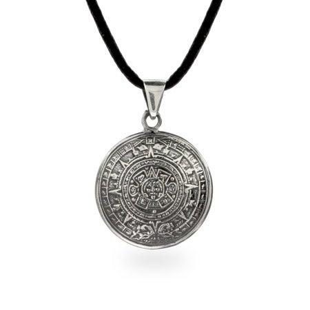 Sterling Silver Aztec Calendar Pendant