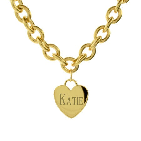 Stainless Steel Gold Heart Tag Necklace | Eve's Addiction