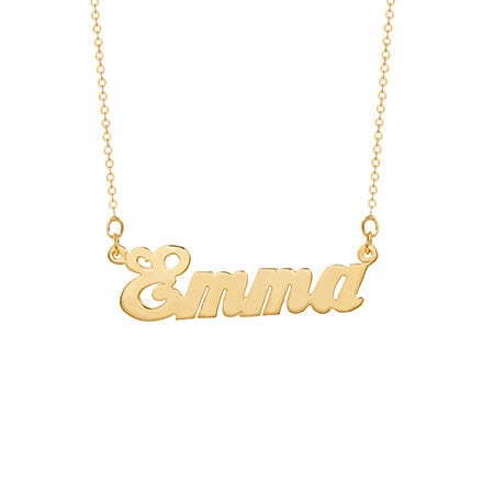 Custom Simple Script Gold Plated Nameplate Necklace