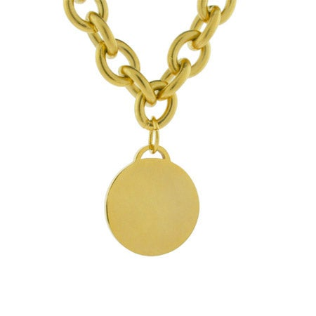 Stainless Steel Gold Round Tag Necklace | Eve's Addiction