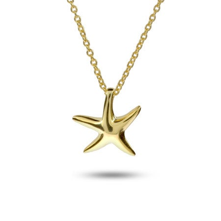 Designer Style Gold Plated Petite Starfish Necklace