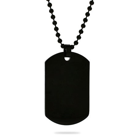 Black Plated Medium Stainless Steel Dog Tag