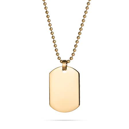 display slide 1 of 1 - 18K Gold Plated Small Dog Tag - selected slide