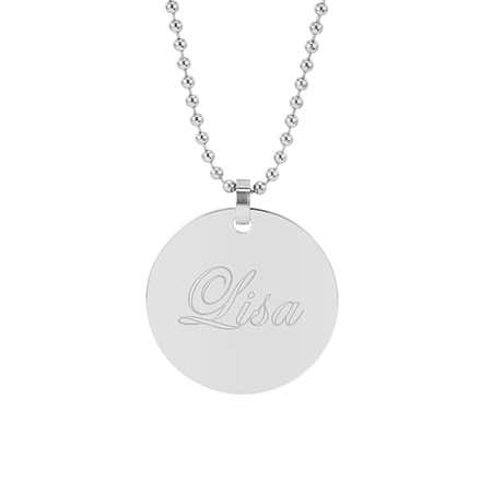Engravable Large Stainless Steel Round Tag Necklace