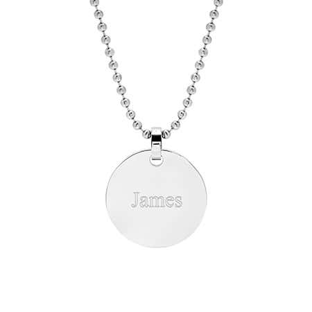 Engravable Medium Stainless Steel Round Tag Pendant