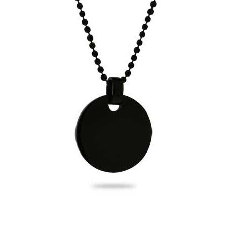 Black Plated Small Round Tag Pendant