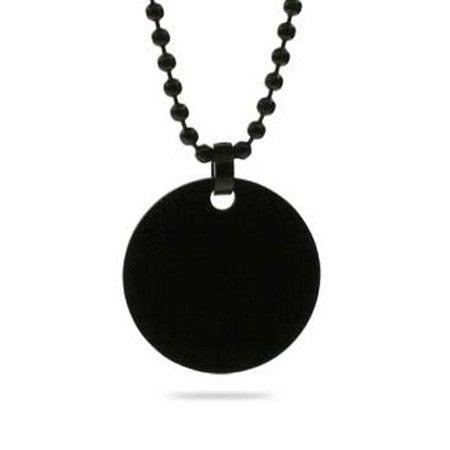 Black Plated Medium Stainless Steel Round Tag Pendant