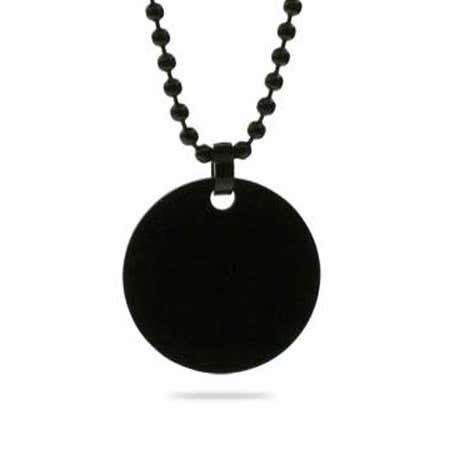 display slide 1 of 1 - Black Plated Medium Stainless Steel Round Tag Pendant - selected slide