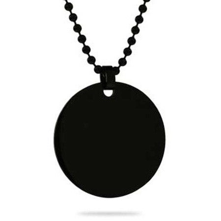 Engravable Black Plated Large Round Tag Pendant
