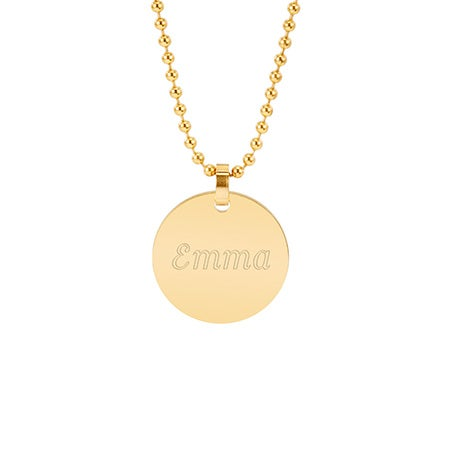 Engravable 18K Gold Plate Small Round Tag Pendant | Eve's Addiction