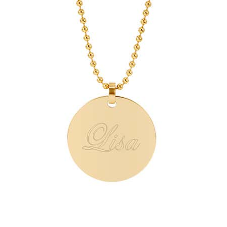 Engravable 18K Gold PlatedRound Tag Pendant