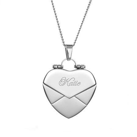 Engraved Envelope Heart Locket | Eve's Addiction®