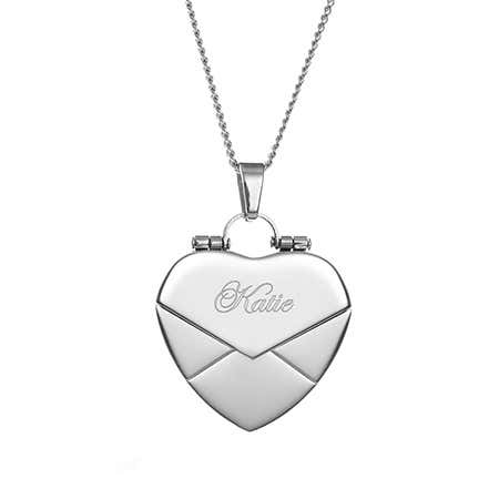 Engraved Envelope Heart Locket