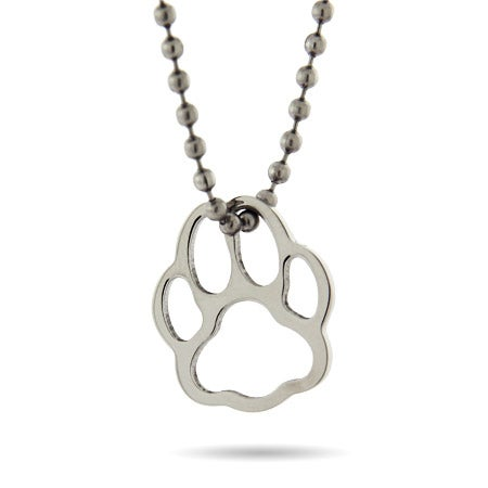 Stainless Steel Pawprint Pendant Necklace | Eve's Addiction