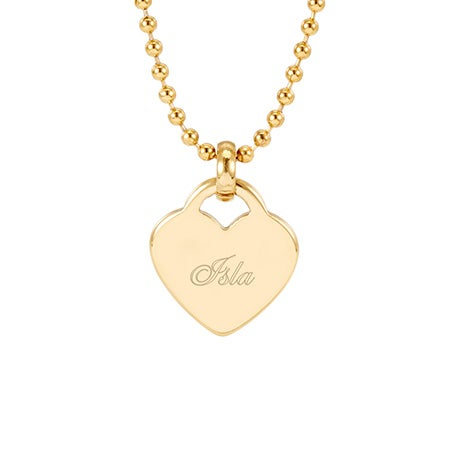 Engravable Gold Plated Heart Charm Pendant | Eve's Addiction