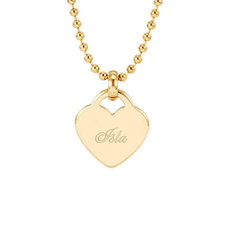 Engravable Gold Plated Heart Charm Pendant | Eve's Addiction