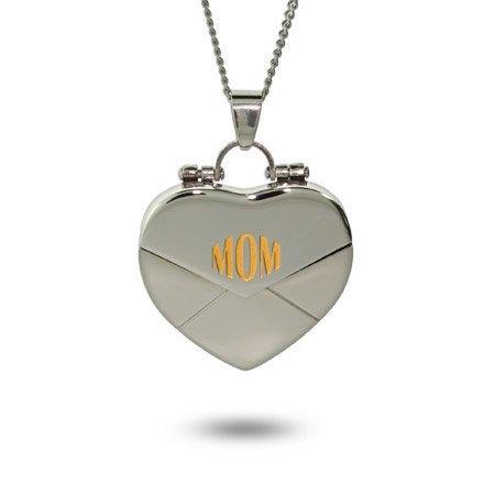 Mom Secret Message Engravable Heart Locket