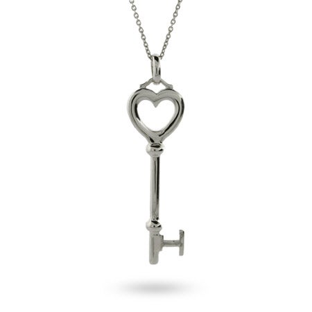 Designer Style Sterling Silver Heart Key Necklace | Eve's Addiction®