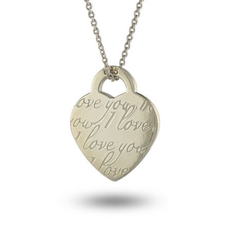 Engravable Sterling Silver I Love You Heart Necklace