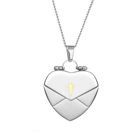 Engravable Heart Envelope Locket with Gold Cross