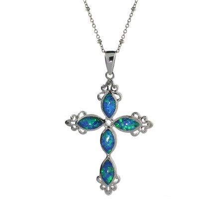 Sterling Silver Opal Vintage Cross Pendant