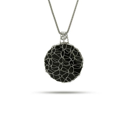 Round Onyx Charm Wrapped in Sterling Silver
