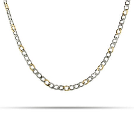 Mens Two Tone Thin Curb Link Stainless Steel Chain