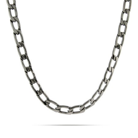 Men's Stainless Steel Flat Curb Link Necklace