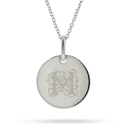 Sterling Silver Vines Engraved Initial Round Tag Necklace