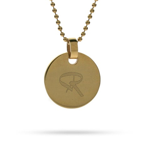 Bailey Style Initial 18K Gold Plated Small Round Tag Pendant
