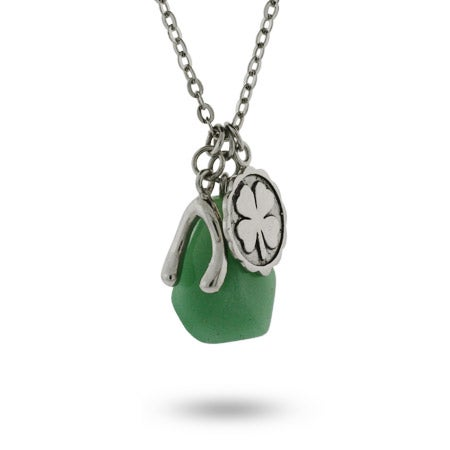 Sterling Silver Good Luck Charm Necklace with Aventurine