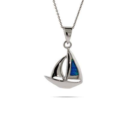 Sterling Silver Opal Sailboat Pendant | Eve's Addiction®