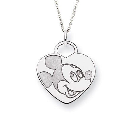 Sterling Silver Heart Mickey Mouse Pendant
