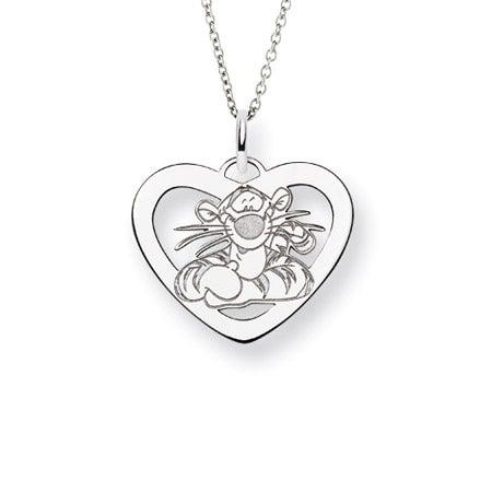 Sterling Silver Tigger Heart Pendant