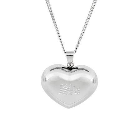 Engravable Puffed Heart Pendant