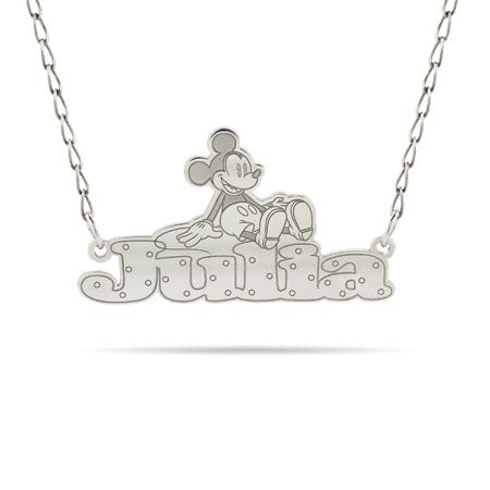Sterling Silver Mickey Mouse Nameplate Necklace