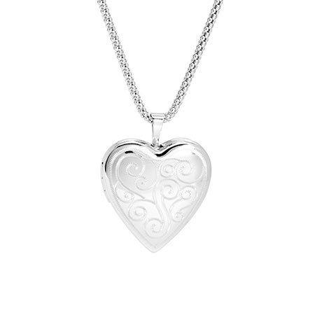 Engravable Vintage Scroll Sterling Silver Heart Photo Locket