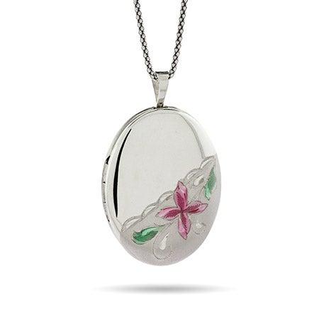 Engravable Pink Magnolia Oval Photo Locket