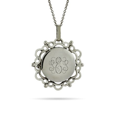 Engravable Victorian Style Silver Monogram Necklace