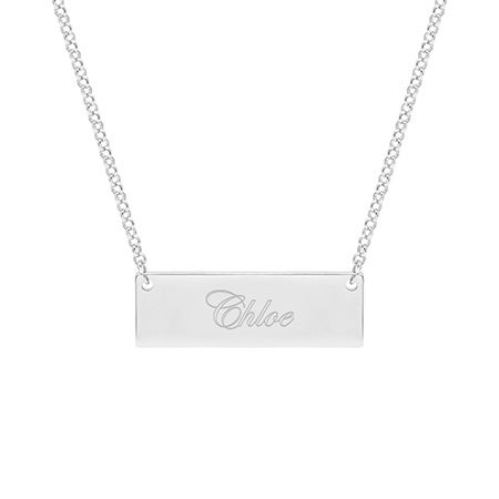 Celebrity Inspired Engraved Name Bar Necklace | Eve's Addiction
