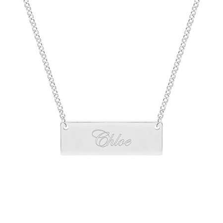 Celebrity Inspired Engraved Name Bar Necklace | Eve's Addiction