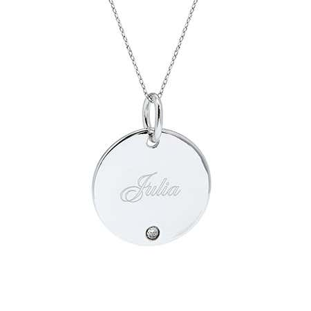 display slide 1 of 3 - Custom Single Birthstone Silver Round Charm Necklace - selected slide
