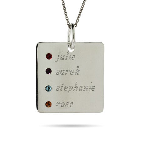 4 Stone Engravable Sterling Silver Square Tag Pendant