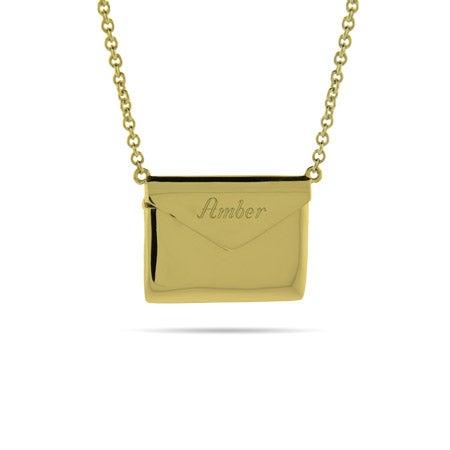 Engravable Gold Plated Secret Message Envelope Locket