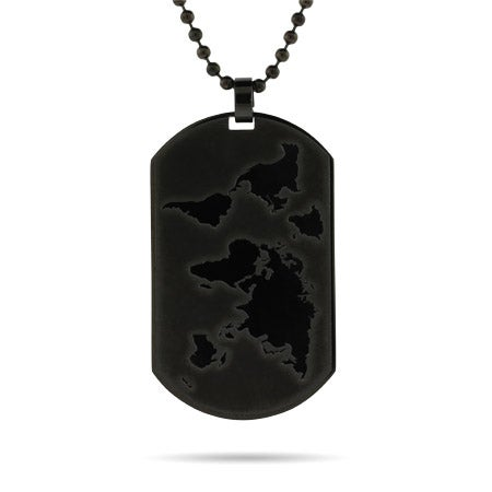 Engravable Black Plate Global Dog Tag
