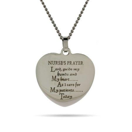 Engravable Nurse's Prayer Heart Necklace