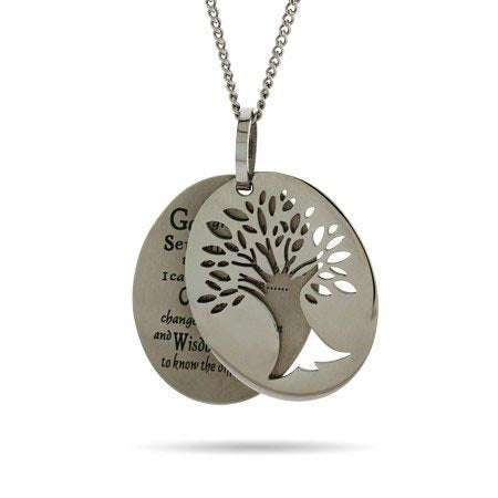 Engravable Serenity Prayer Tree of Life Necklace | Eve's Addiction®